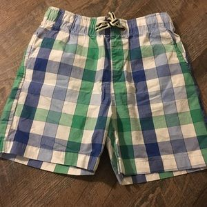 Blue and green checkered shorts